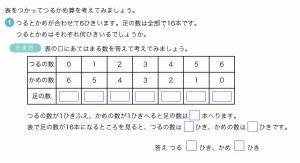 算数特殊算つるかめ算問題解法