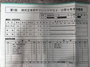 小4四天王寺中チャレンジテスト成績表結果